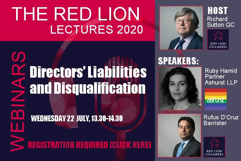 Directors Liabilities and Disqualification (Recording available)