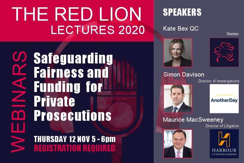 Safeguarding Fairness and Funding for Private Prosecutions (Recording available)