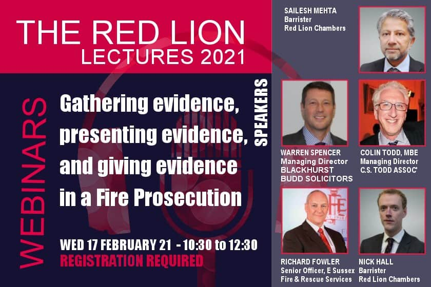 Gathering evidence, presenting evidence, and giving evidence in a Fire Prosecution (Recording restricted)