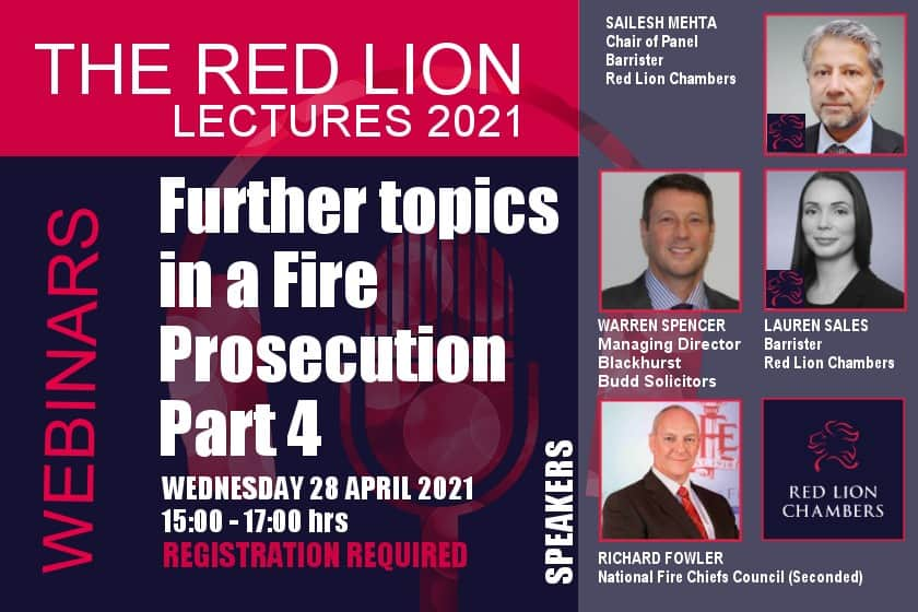 Further topics in Fire Prosecution - Part 4 (Recording restricted)