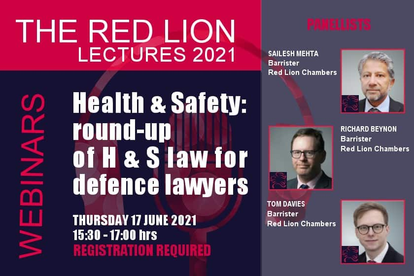 Health & Safety: round-up of H & S law for defence lawyers (Recording available)