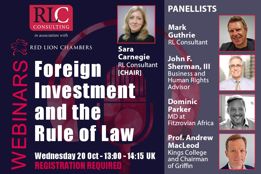 Webinar: Foreign Investment and the Rule of Law - 20 Oct (Recording available)